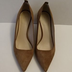 Everlane The Editor taupe suede heel pump.